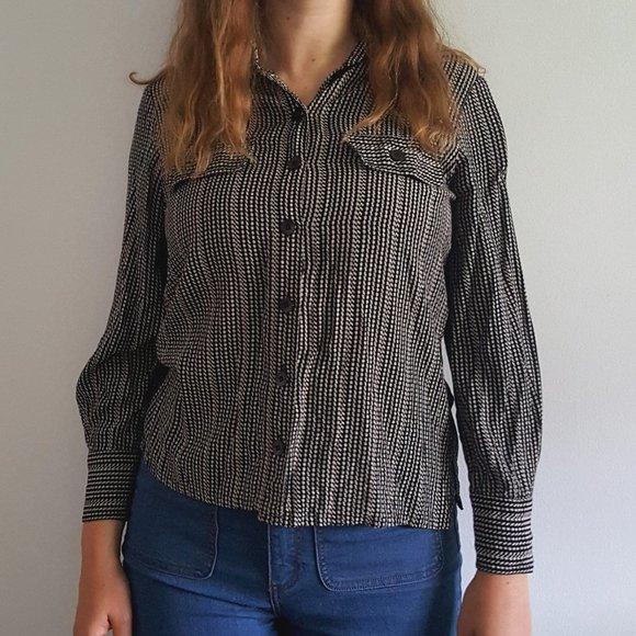 Vintage 1990's Striped Button-Down Blouse